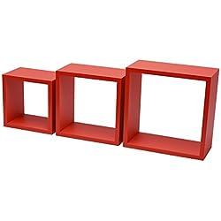 DURAline 1195887 White Label Triple Cube 12mm 30x30x12 cm Rouge, Bois, 30 x 12 x 30 cm