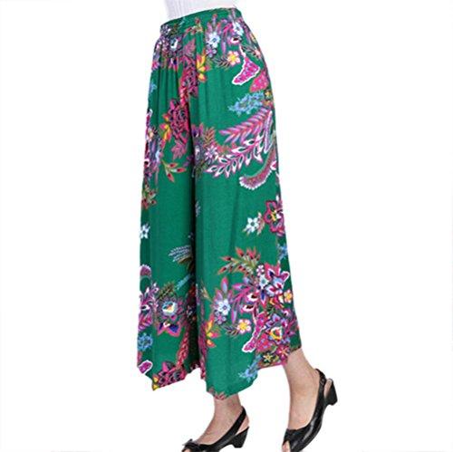 NJunicorn Uncle Damen Bequem Elastische Taille Baumwolle&Leinen Hosenrock Weite Bein Blumenmuster Lange Hose Pumphose Schlabberhose (Art 2,L) -