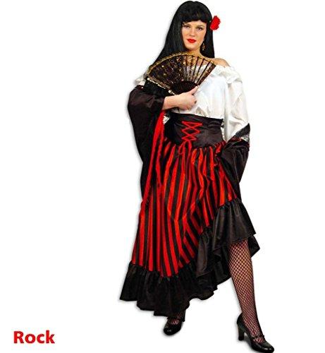 KarnevalsTeufel Damenrock INES Rock in schwarz-rot gestreift tailliert Zigeuner Sinti und Roma Piratenbraut Freibeuterin Seeräuberin Vagabund - Verschiedene Größen vorhanden (40)