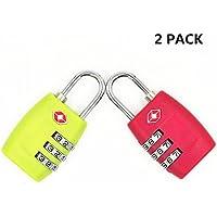 Cerraduras de combinación de 3dígitos de Jyhyeu Tsa, paquete de 2, candados resistentes y de alta seguridad, para equipaje, maletas, bolsos de viaje y casilleros de gimnasio Red&Green