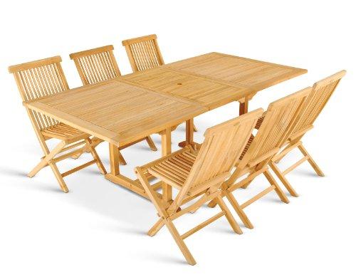 XXS® Möbel Gartenmöbel Set Caracas 7tlg Teak Holz pflegeleicht Holz Tisch Kuba ausziehbar mit Schirmloch sechs Klapptstühle Menorca pflegeleicht