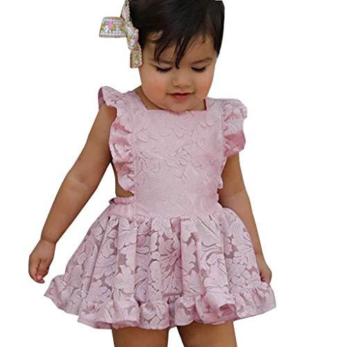 Baby Mädchen Kleid rückenfreies, KIMODO Kleinkind Ärmelloses Kleid mit floraler Rose Urlaub Sommerkleid Party Prinzessin Kleidung Outfit