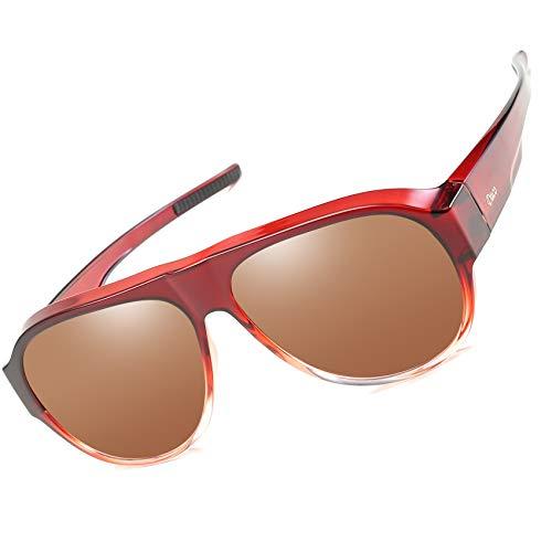DUCO Sonnenüberbrille für Brillenträger UV400 Schutz Überzieh Fliegerbrille Groß Fit-over Polbrille Filterkategorie 3 CE 8959