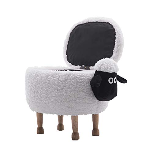 DQMSB Shaun Das Schaf Stuhl Kind ändert Seine Schuhe kleine Hocker Hocker Hocker Tiere kann Lagerung abnehmbar und waschbar, Größe: 63x36x42cm (Farbe : Weiß, größe : B-63x36x42cm)