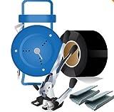 Abrollwagen+Spann u. Verschlussgerät + PP Umreifungsband 12 mm +Verschlusshülsen