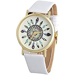 HARRYSTORE Womens Vintage Feather Dial Leather Band Quartz Analog Unique Wrist Watches