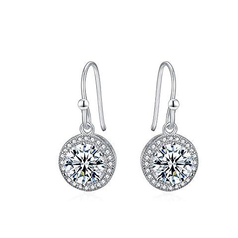 Imitation diamant Boucles d'oreilles clous en argent sterling 925incrusté Mesdames Micro Pave Halo–Boucles d'Oreilles Pendantes Femme–(10mm) avec coffret cadeau