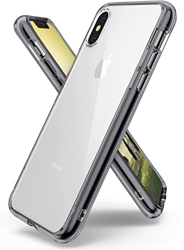 Ringke Fusion Compatible with iPhone X Case, iPhone 10 Case, Clear Transparent PC Back TPU Bumper [Drop Defense] Raised Bezels Scratch Protection Natural Form Cover for Apple iPhone X - Smoke Black