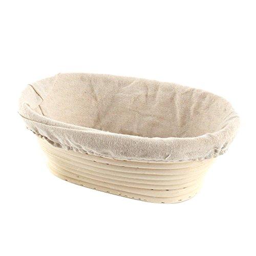 moresave Oval Banneton Brotform Teig Brot Proofing beweisen, Rattan Korb mit Liner, lightYellow, Oval 21*15*8 cm Bread Basket Liner