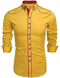 COOFANDY Camisa Casual Hombre Manga Larga de Vestir Color Contraste de Moda 92fb408be0d