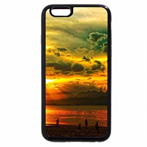 iPhone 3S/iPhone 6Coque (Noir) coucher du soleil à la plage.