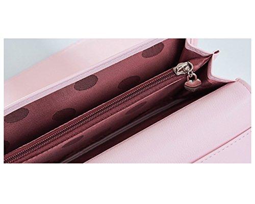 Portafoglio Donna, WEICHEN Blocco RFID Grande capacità Lunga Elegante Borsa delle signore PU genuino Cera di lusso Porta Monete Carte di Credito e Identità-Rosa chiaro Rosso scuro