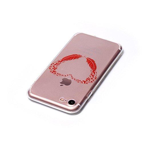 Apple iPhone 7 4.7 Hülle, Voguecase Schutzhülle / Case / Cover / Hülle / TPU Gel Skin (Feder-Anhänger) + Gratis Universal Eingabestift Rot Gefieder 02