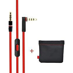 Remplacement de câble/Fil pour Beats câble audio + Télécommande/Micro pour Beats by Dr. Dre Casque Solohd/Studio/Pro/Detox/sans fil red