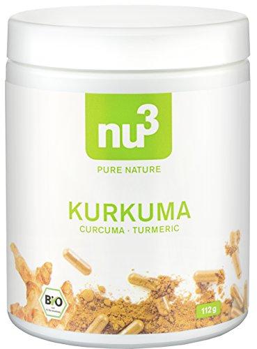 Preisvergleich Produktbild nu3 Premium Bio Kurkuma (Curcuma) - mit Piperin hochdosiert in veganen Kapseln - 200 Stück - enthält natürliches Curcumin & Piperin aus schwarzem Pfeffer-Extrakt - Pulver Laborgeprüft aus Deutschland