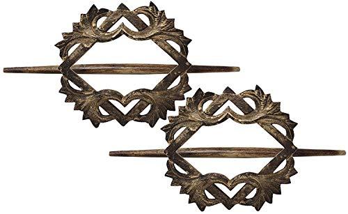 SKAVIJ Handgefertigt aus Holz Antik Design Home Dekorative Geschenke Set 2 Braun Herz Form...