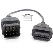 LoongGate 12 Pin a OBDII 16 Pines Conector Cable 8 Pin Pass a Través de Auto