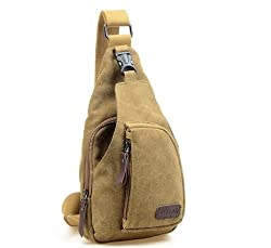 Cuteme® Men's Small Canvas Military Messenger Shoulder Travel Hiking Bag Backpack (Beige)