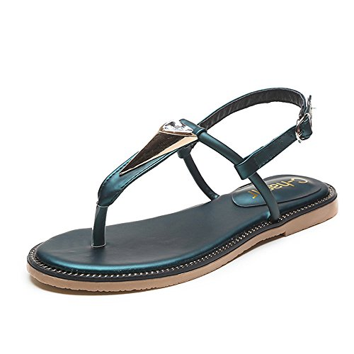 Les diamants de la TOE dété Flat Sandals Femme green