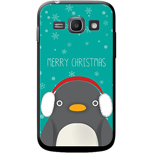 Merry Christmas Snowflakes cover/custodia rigida per cellulari Samsung, PLASTICA, Penguin Wearing Ear Muffs, Samsung Galaxy Ace 3 (S7270)