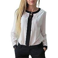 Blusa Camisa Gasa Color Sólido Camiseta Mujer Mangas Largas Elegante Oficina Casual