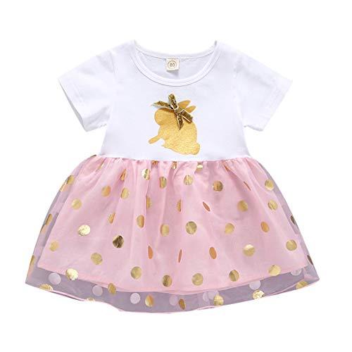 Alwayswin Mädchen Tüll Dot Print Kleid Kurzarm T-Shirt Kleid Mesh Tutu Kleid Hase Print Tägliches Kleid Baumwollmischung Babykleidung Studentenkleidung Sommerkleid Seaside Kleid