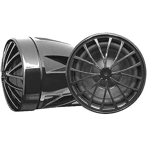 Pyle PLMCS36 - Altavoces de motocicleta, diseño cromo-acentuado negro