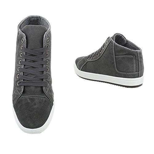 Ital-Design High-Top Sneakers Herrenschuhe High-Top Schnürer Schnürsenkel Sneaker Grau