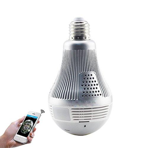 ANERA 3MP Wireless VR Panorama IP Kamera HD 1080P Licht Kabellose IP-Kamera Mini-Lampe Infrarot Cam Wi Fisheye Überwachung 360Grad CCTV Home Security - Ir Ip-kamera-unsichtbare