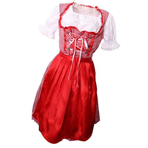 MagiDeal Dirndl Trachtenkleid Kleid Schürze Set - M