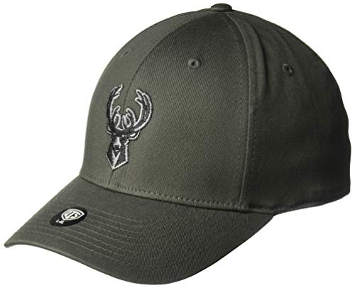 OTS NBA Adult Men's Comer Center Stretch Fit Hat Milwaukee Bucks, One Size, Charcoal Clean Stretch-cap