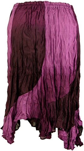 Guru-Shop Midirock, Flamencorock, Batikrock, Sommerrock, Krinklerock, Damen, Viskose, Size:38, Kurze Röcke Alternative Bekleidung Pink