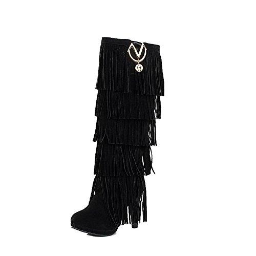 VogueZone009 Donna Alta Altezza Tacco Alto Chiodato Pelle di Mucca Stivali con Frange, Nero, 36