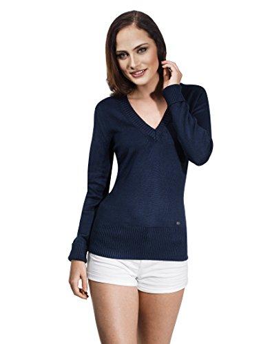 Vincenzo Boretti Damen Pullover mit geripptem V-Ausschnitt dunkelblau M (Rollkragenpullover Blaue Pullover Gerippten)