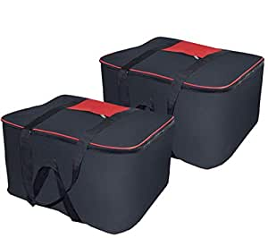 Storite Nylon large size Underbed Storage Bag (54 x 46 x 28 cm) - Black-2 Pack