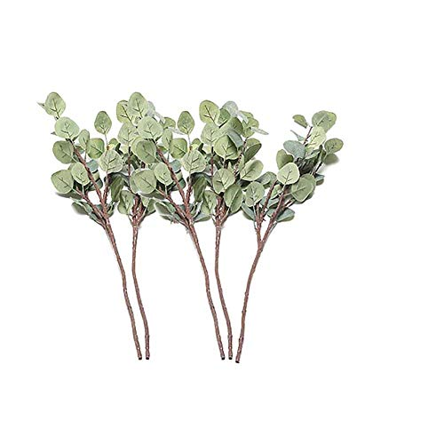 Cratone 5 Stück Künstliche Eukalyptus Zweige Pflanzen Faux Eukalyptus Blätter Künstliche Grün Floral Garten Party Party Hochzeit Dekor 60cm