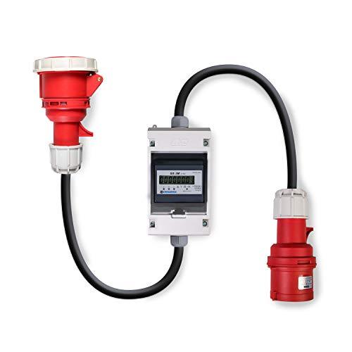Swissnox Digital Stromzähler Zwischenstecker Box 400V / 16A CEE-Stecker Und Kupplung. Wattmeter Energiezähler Zwischenzähler Starkstromzähler IP55 Gehäuse. Made in Germany Digitale Stromzähler