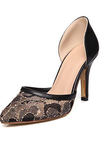 WSS 2016 Chaussures Femme-Bureau & Travail / Décontracté-Noir / Rose / Amande-Talon Aiguille-Talons / Bout Pointu-Chaussures à Talons-Tulle / black-us9.5-10 / eu41 / uk7.5-8 / cn42