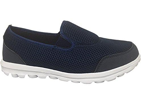 Flexi Go Walking Get Fit, scarpe da ginnastica unisex da adulto, ideali per lo sport, confortevoli, scarpe da ginnastica tipo ballerine numeri 33,5-43,5 Navy/Orange