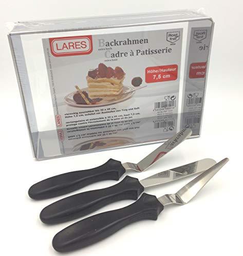 Sugar and Cakes BACKRAHMEN Lares eckig extra hoch 7,5 cm verstellbar Tortenring + 3 er Winkelpalette Set