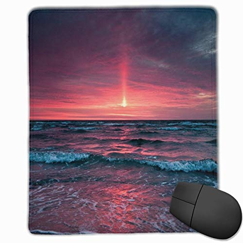 Preisvergleich Produktbild Ocean Tide Waves Silhouette at Sunset Dreamy Dusk Warm Twilight Rectangle Non-Slip Rubber Mouse Pad with Stitched Edges