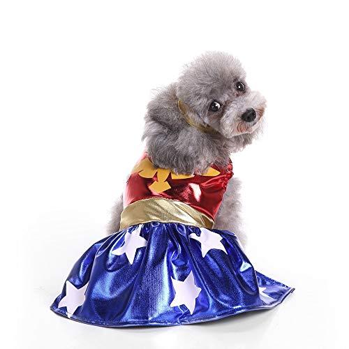 nzessin Kleid,Mode Sommer Ärmellos Kleider Hemd Kreativ Superheld Sill Kontrastfarbe Hunde Kleid mit Kopfschmuck für Performance Kostüm Party Cosplay ()
