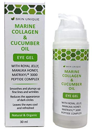 Collagène marin et Huile de concombre Gel pour les yeux 30 ml - Crème hydratante anti-âge naturelle et organique et rembourrage des rides avec le miel Manuka, la gelée royale, et le Matrixyl 3000