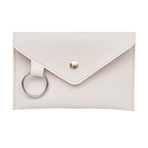 VJGOAL Damen Bauchtasche, Damen Mode Reine Farbe Ring Leder Party Strand Urlaub Messenger Schulter Brust Kleine Tasche (Weiß)