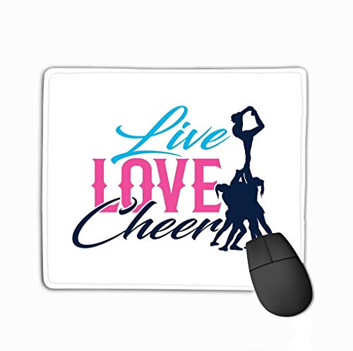 (Mouse Pad Typo live Love Cheer Silhouette Quote Cheerleader Flyer Base Good Tee Wall Art Decor Cutting Sticker Tote Rectangle Rubber Mousepad 11.81 X 9.84 Inch)