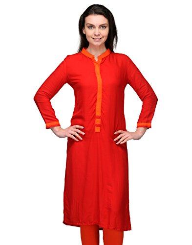 Cenizas Women Rayon Straight Kurta (Kurtis/9031/Red/M _Orange _M)  available at amazon for Rs.249
