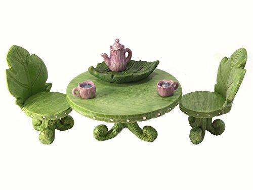 Set di mobili in miniatura per giardino incantato: set bistro a foglia con set per tè per gnomi e fate da giardino