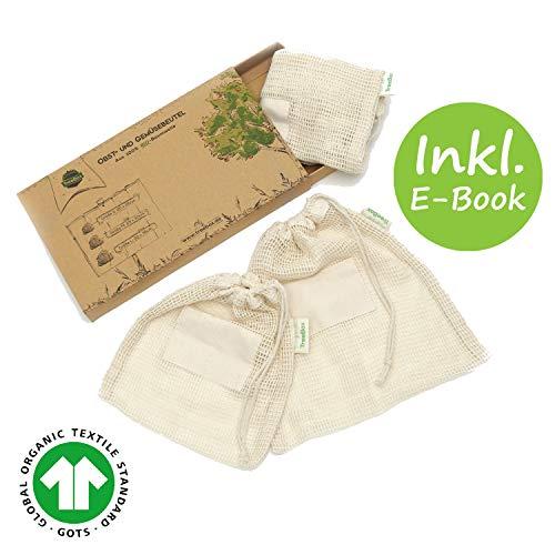 TreeBox Einkaufsnetze für Obst und Gemüse aus 100% Bio-Baumwolle (GOTS) - 3er Set - Mit Gewichtsangabe und Feld für Etiketten - FSC® zert. Verpackung