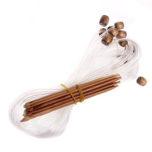 niceeshop(TM) Ganchos de Bambú Carbonizado Ganchillo Tunecino Agujas de Tejer Circular (Juego de 12 Piezas)