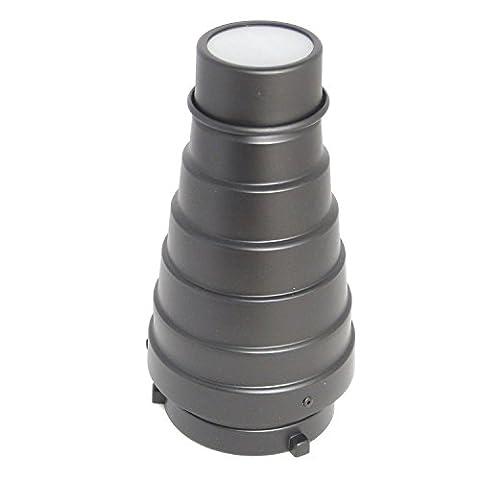 DynaSun A187 Réflecteur Snoot Nez Étroit Conique Professionnel avec Nid d'Abeille et 4x Filtres Speed Ring S-Type pour Flash Studio Photo &